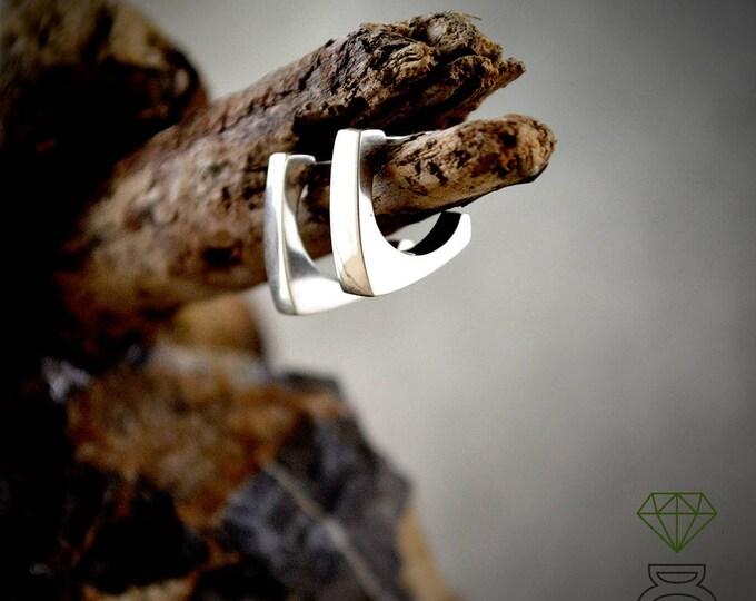 Tiny silver hoop earrings, Square silver hoop, Silver open hoop, Minimalist jewelry, Modern jewelry. Unisex rings, Handmade earrings