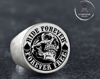 "Custom order skull signet ring, ""Ride forever, Forever free"", Reserved for Billy, Second payment Custom Memento mori  ring"