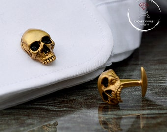 Skull cufflinks,  24k Gold plated Cufflinks , Men's Cufflinks, Badass Jewelry, Gothic Jewelry, Engagement gift