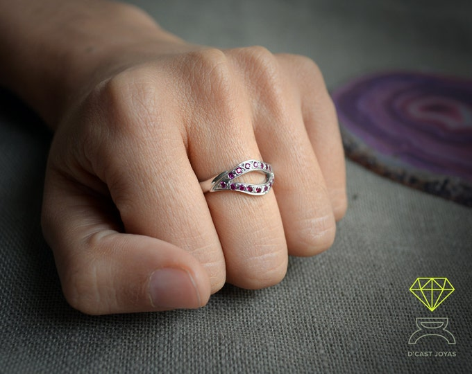 Engagement ring, Sterling silver ring gemstones, Silver leaf shape ring, Gift for her, Eye ring protector, Handcrafted ring