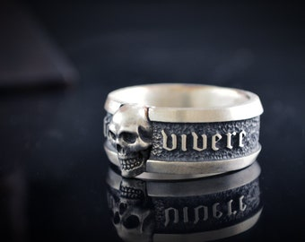 Memento Vivere band ring with skull in solid Sterling silver