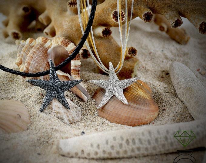 Silver pendant Starfish, Starfish necklace, Pendant for men, Star pendant for women, Sea jewelry, Boho style, Handmade necklace, Ocean jewel