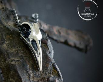 Silver raven skull pendant Odin