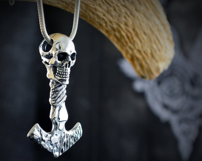 Featured listing image: Viking pendant Mjolnir skull with hammered and oxidized textures, customizable Viking amulet