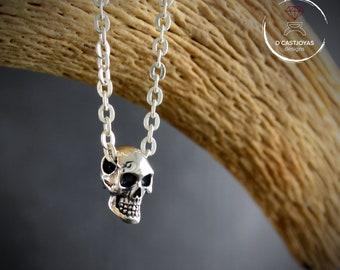 Silver human skull pendant, Urban style jewellery