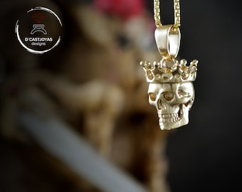 Solid gold skull pendant , 14k or 18k gold skull with crown,  Memento mori pendant