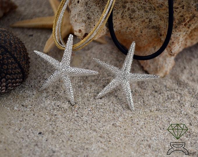 Silver Starfish Pendant, Pendant star five points, Handcrafted Pendant, Ocean Jewelry, Boho style, Unisex jewelry, Men pendant