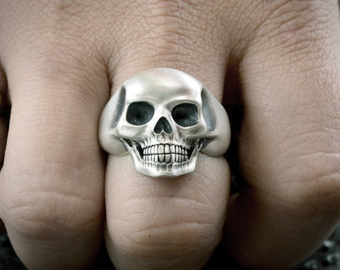 Sterling Silver Skull Ring, Silver ring for men, Human skull ring, Memento mori ring, Biker ring, Halloween jewelry, Badass