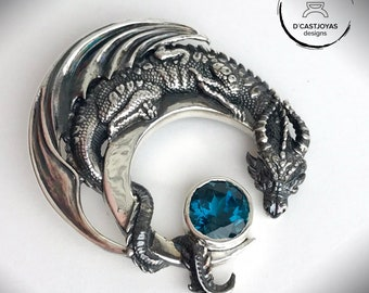Sterling Silver Dragon Pendant with natural blue london topaz