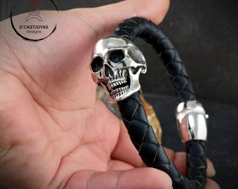 Men Skull bracelet Solid Sterling silver and braided leather with natural stone, Father's Day gift, Silver cuff for men, Biker jewelry