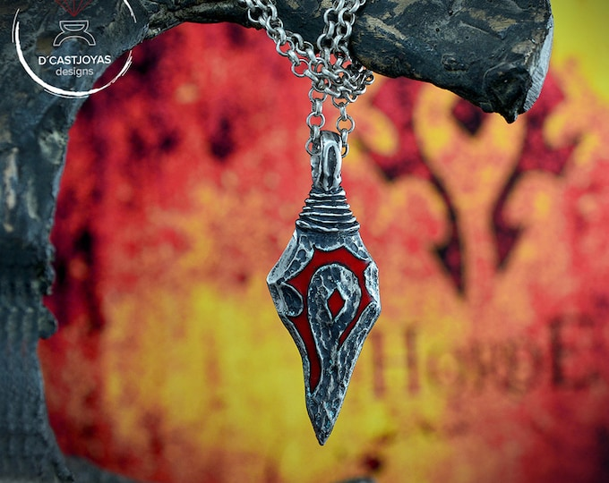 Sterling silver Horde pendant with oxidised textures, Rustic pendant for men,Wow pendant, World of Warcraft inspired, Christmas gift