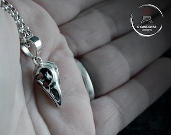 Small silver viking raven skull pendant, Skull bird