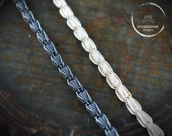 Sterling silver filigree chain, Thick silver chain fantasy thread, Thick silver chain, Oxidised silver chain