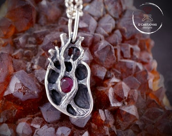 Sterling silver anatomical heart pendant with natural stone, I give you my heart