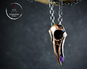 Bronze raven skull pendant with natural stone, Odin amulet pendant