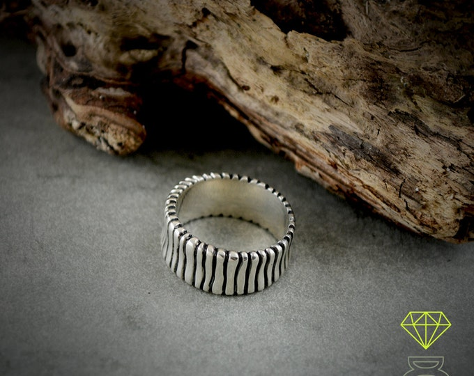 Sterling silver band ring, Rustic sterling ring, Cool mens ring, Oxidised silver ring, Handmade ring, Mens silver ring, Contemporary jewelry