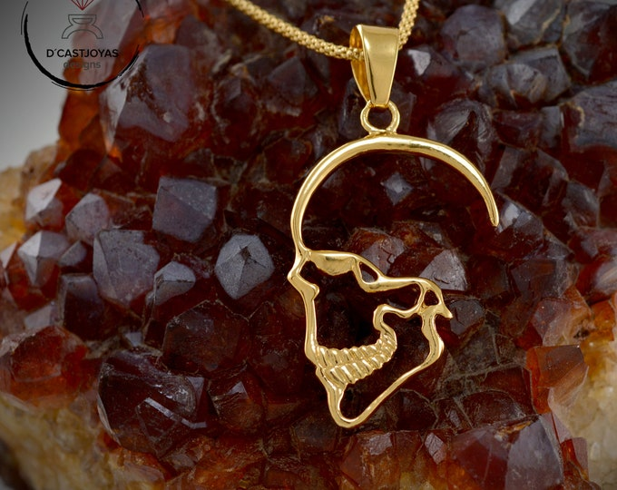 Gold plated Silver Skull Pendant, Cool skull Christmas gift, ProfileSkull pendant for men and women, Rose plated pendant, Gothic jewelry