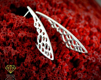 Silver long earrings bones, Dragonfly wings, Long earrings 925 silver, Handmade earrings, Boho style, Urban jewelry