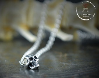 Tiny Sterling Silver skull charm  with silver rolo chain