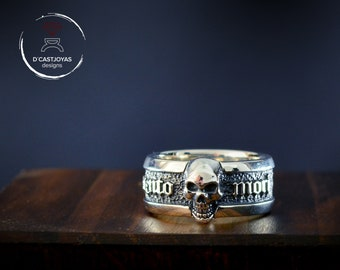 Memento Mori ring with skull in solid Sterling silver, Band ring for men