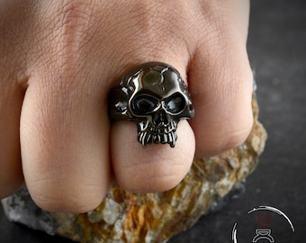 Black Silver Vampire skull ring, Halloween ring, Black rhodium plated ring, Skull ring for men, Skull with fangs  Gothic ring, Biker jewelry