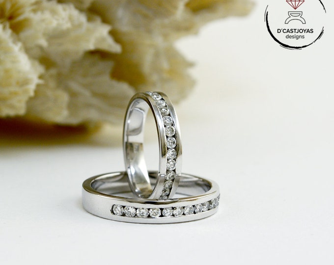 Alliances white gold and diamonds, Rings for couples, Engagement rings, Rings man and woman, Handcrafted wedding rings, Wedding jewelry,