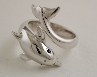Silver dolphin ring, Statement ring, Mother's Day Gift, Adjustable dolphin ring,  Handcrafted ring, Bride gift, Ocean jewelry