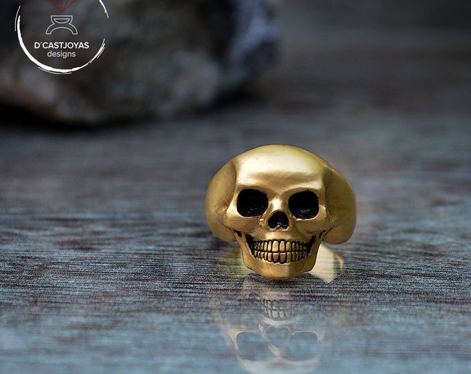 Gold plated Skull Ring, 24K gold plated, Human skeleton silver ring, Biker ring, Solid silver Skull ring, Handcrafted ring, Memento Mori