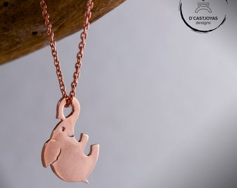 Rose gold plated elephant necklace, Gold plated lucky elephant pendant, Cool Valentines gift, Pink pendant, Happy Elephant pendant