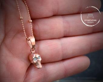 Rose Gold plated skull pendant