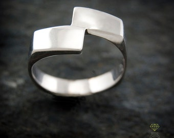 Silver geometric ring, Rectangular ring, Men ring,  Handmade ring, Contemporary jewelry, Urban style ring,  Cool man ring