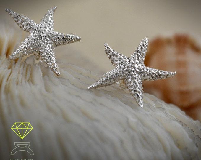 Silver starfish earrings, Gold plated starfish earrings, Star earrings, Boho style, Sea jewelry, Gift for her, Handmade earrings
