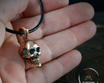 Bronze full skull pendant for men with oxidised textures