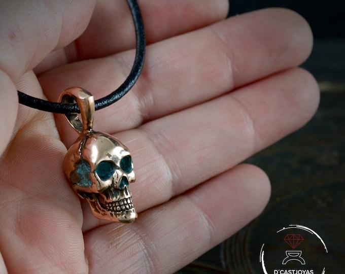 Solid Bronze full skull pendant for men, Big bronze skull necklace, Handcrafted pendant, Biker jewelry, Cool Christmas gift