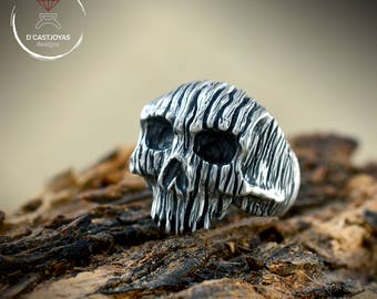 Rustic Silver skull ring with tree bark textures