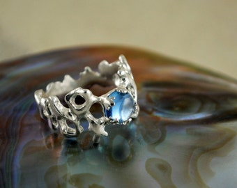 Wedding Silver Coral ring with blue stone, Boho bride ring
