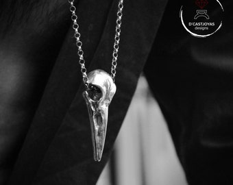 Solid Sterling Silver Raven skull pendant, Cool gift for bride, Necklace for men, Gothic bride jewelry, Handcrafted  pendant