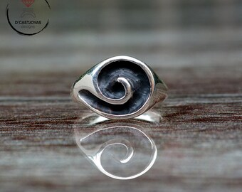 Silver seal ring, Spiral ring, Celtic talisman ring, Boho style, Signet ring for men,  Handcrafted ring, Celtic jewelry, Contemporary