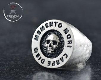 Custom Memento mori  ring, Silver signet skull ring with engraved lyrics