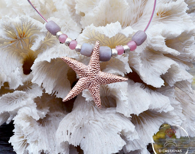 Silver starfish necklace, Rose gold plated starfish, Pink starfish with beads, Silver starfish necklace, Ocean jewelry, Handmade necklace