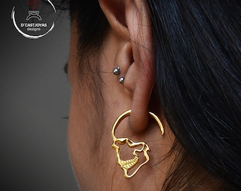 Solid gold Skull earrings, 18k Gold hoop earrings, Punk earrings