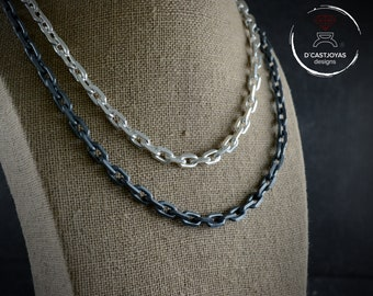 Solid silver thick chain necklace, Sterling silver cable diamond cut chain, Men necklace,  Oxidised cable silver chain