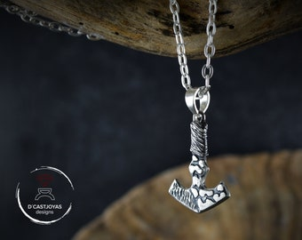 Mjolnir pendant  in solid silver with hammered and oxidised textures, Thor viking necklace