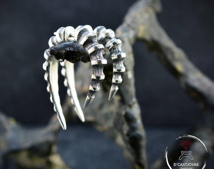 Silver Hoop Dragon Horn, Dragon Earrings, False silver ear dilator, Silver bone hoop, Silver horn, Cool Men earrings, Contemporary jewelry