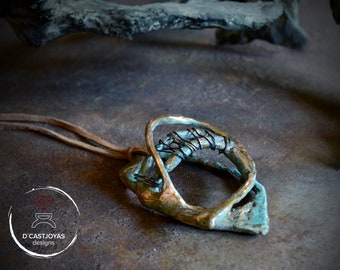 Artistic Galaxy pendant handmade in bronze with hammered textures, Contemporary jewelry