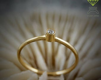 Gold ring, Engagement Ring, 18k Gold Solitaire Ring , Midi Ring, Solitaire Gold, Minimal Ring, Gift for her