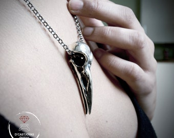 Large raven skull in solid sterling silver, Viking bird skull necklace