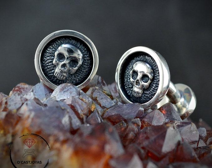 Sterling Cufflinks Skulls, Men's Silver Cufflinks, Skull Cufflinks, Groom gift, Gothic Jewelry, Biker jewelry, Halloween