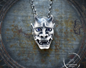 Silver Hannya mask necklace with stones,  Oni  japan mask pendant , Silver pendant for men, Cool jewelry gift, Tattoo style, Biker jewelry