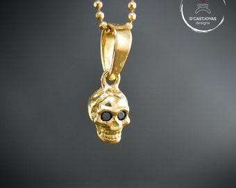18k Gold tiny skull pendant natural black diamonds set,Gothic bride, Gold earrings sapphires, Cool Valentine's gift, Gift for girlfriend
